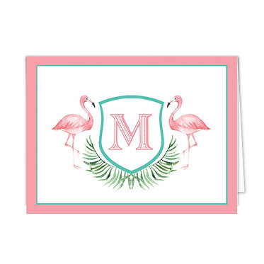Watercolor Pink Flamingo Monogrammed Foldover Notecards