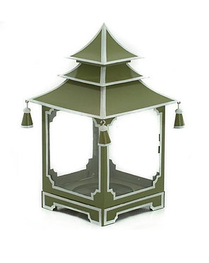 French Green and White Candle Pagoda (2 Sizes)