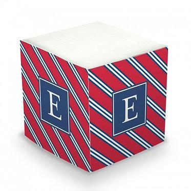 Repp Tie Monogram/Name Sticky Memo Cube