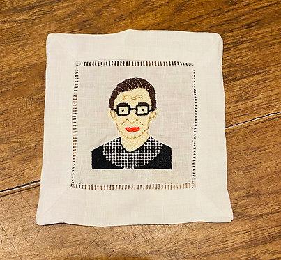 RBG embroidered cocktail napkins set of 4