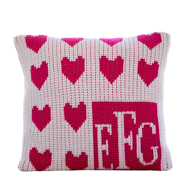 """Lots of Hearts 15"""" x 15"""" Custom Name Pillow"""