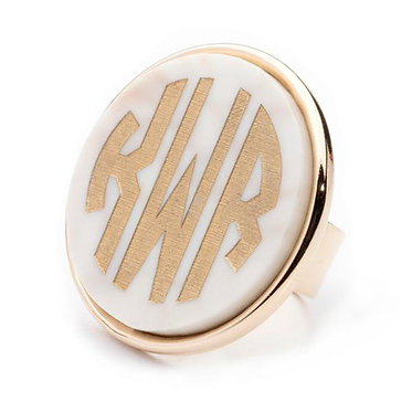 Custom Monogram Vineyard Round Ring