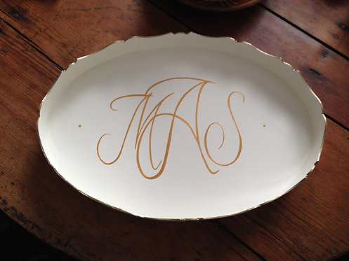 "Hand Painted Custom Monogram 18"" Scalloped Edge Tray"