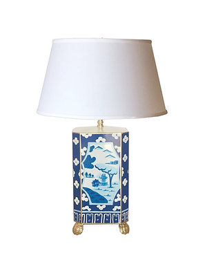 Dana Gibson Canton in Blue Lamp with Shade