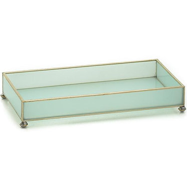 "Opaque 6"" x 12"" Metal and Glass Vanity Tray"