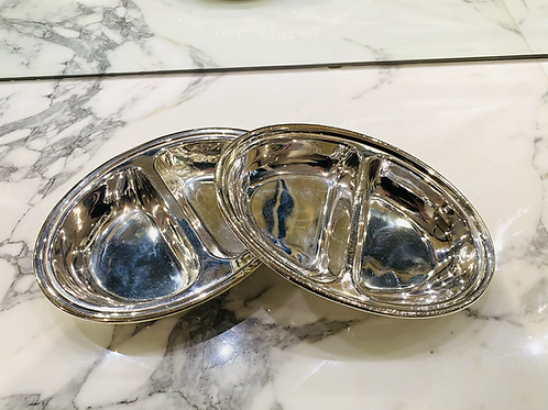 HÔTEL Silver Oval Divided Dish - Two Sizes Available - Hotel Silver