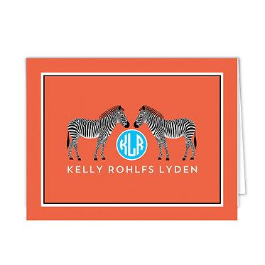Zebra Monogram Foldover Notecards