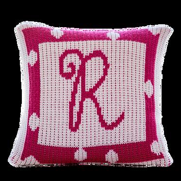 "Polka Dot Border 15"" x 15"" Custom Name Pillow"