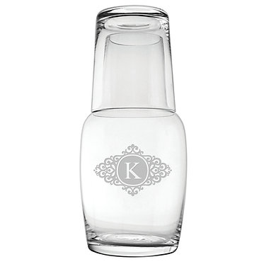 Monogrammed Glass Overnight Bottle Set 32oz