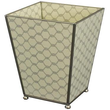 Gray Knot Metal and Glass Wastebin Wastebasket