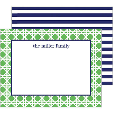 Summer Rattan Green Personalized Flat Notecards