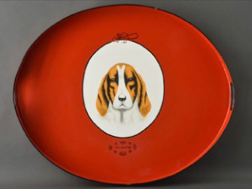 Hound Metal Tole Hand Painted Tray
