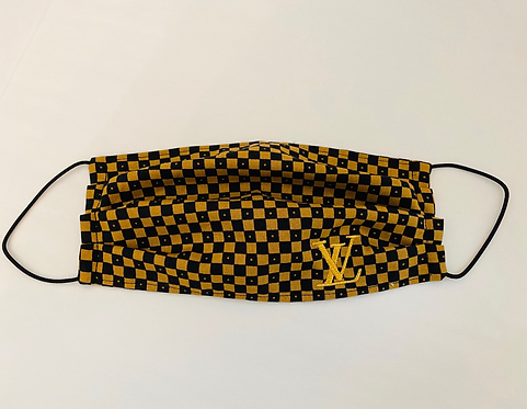 LV Embroidered Damier Fabric Face Mask - Multiple Sizes - Filter or Classic