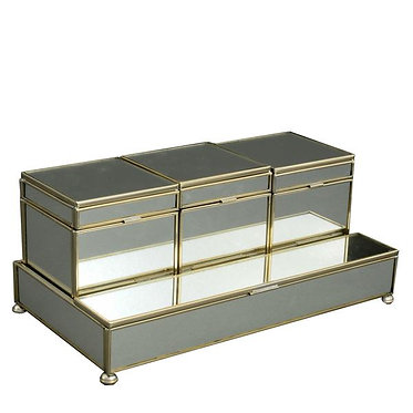 New Mirror Metal and Glass Three Box Vanity Set