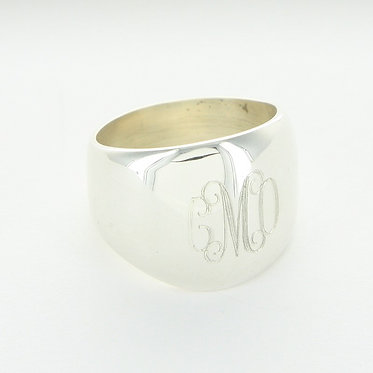 Sterling Silver Domed Monogram Band Ring
