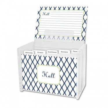 Bamboo Navy & Green Lucite Recipe Box With Cards