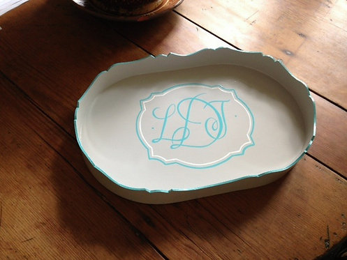 "Hand Painted Custom Monogram Floral 16"" Scalloped Edge Tray"
