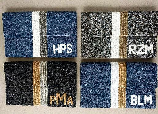 Large Flap Custom Monogram Name Stripe Beaded Clutch