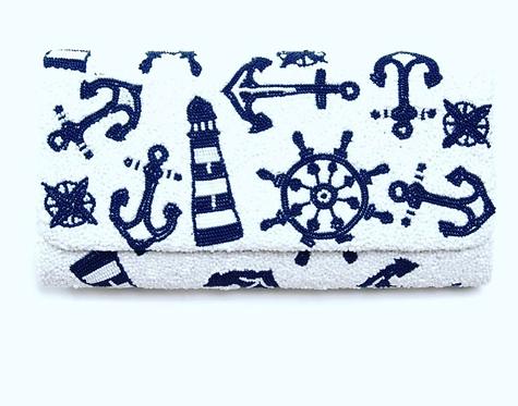 Custom Beaded Nautical Handbag Clutch With Chain Strap