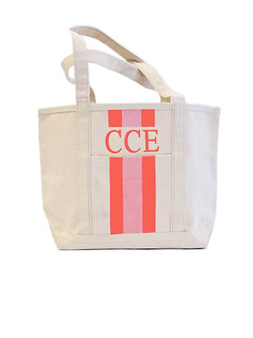 Hand Painted Monogram Boat Tote Canvas Tote
