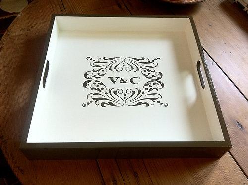 "Hand Painted Custom Monogram Wedding Invitation 16""x16"" Flat Edge Tray"