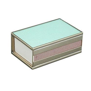 Sea Foam Lizard Print Metal and Glass Decorative Matchbox Cover