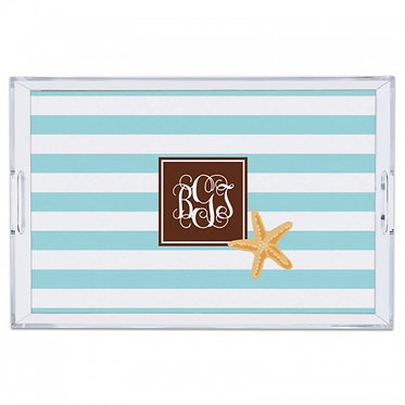 Striped Starfish Lucite Monogram Tray (4 Sizes)
