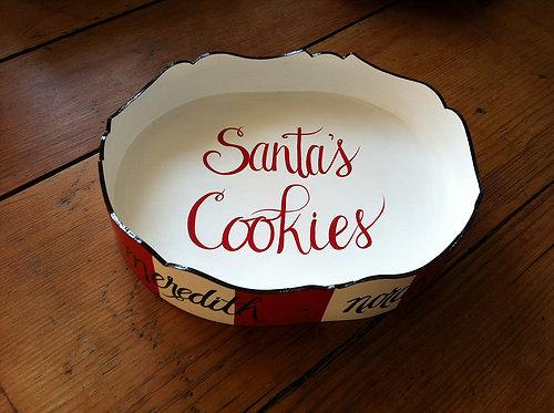 "Hand Painted Custom Monogram 12"" Scalloped Edge Tray For Santa Cookies"