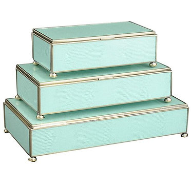 Sea Foam Lizard Print Metal and Glass Rectangle Stacking Lidded Boxes Set