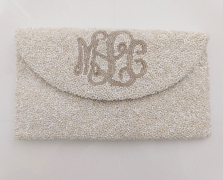 Custom Monogram Envelope Envelope Beaded Clutch Handbag With Chain Strap