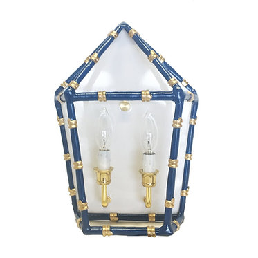 Bamboo Electric Wall Sconce Navy and Gold