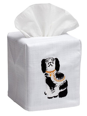 Black and White Staffordshire Dog Linen Embroidered Tissue Box Cover