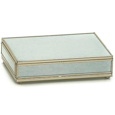 JM Piers White Lizard Print Playing Card Storage Box With Two Decks of