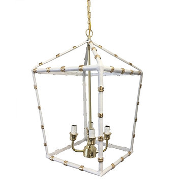 Small Bamboo Lantern In White & Gold