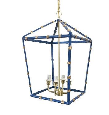 Large Bamboo Lantern In Navy & Gold