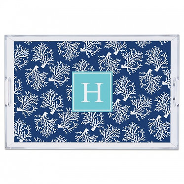 Coral Repeat Navy Lucite Monogram Tray (4 Sizes)