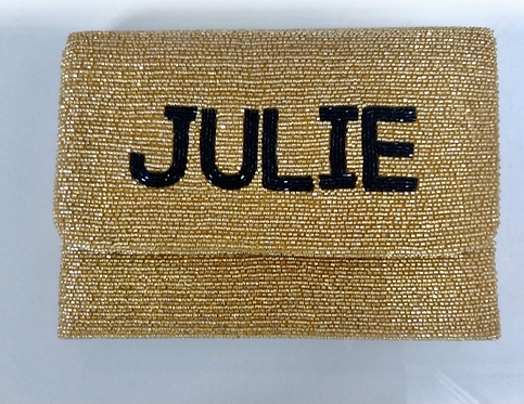"Custom Monogram Large Bead Flap Clutch Handbag 7""x10"""