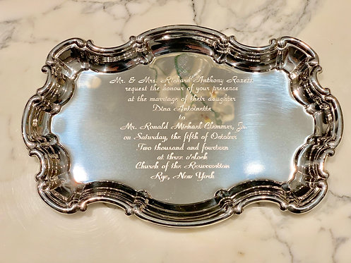 Engraved Monogram Large Chippendale Tray With Wedding Invitation Engraving