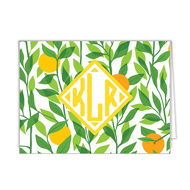 Citrus Monogram Foldover Notecards