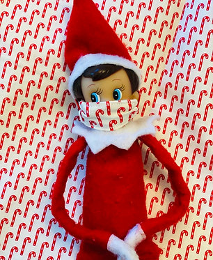 Mini Elf on the Shelf Mask In Candy Cane Cotton