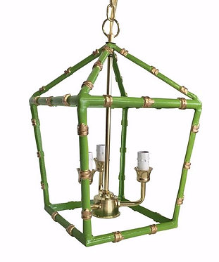Small Bamboo Lantern In Green and Gold