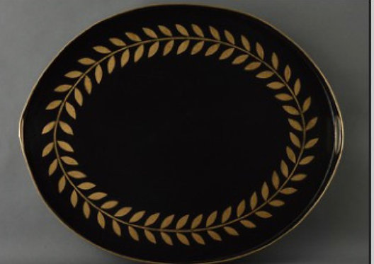 JM Piers Black and Gold Laurel Wreath Metal Tole Hand Painted Tray