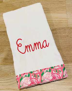 Custom Lilly Pulitzer Pink Colony Grosgrain Ribbon Embroidered Burp Cloth