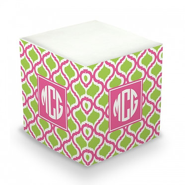 Kate Raspberry & Lime Monogram/Name Sticky Memo Cube