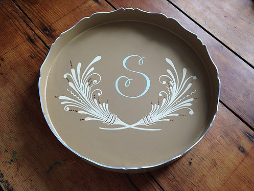 "Hand Painted Custom Monogram 18"" Round Scalloped Edge Tray With Wheat Design"