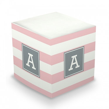 Awning Stripe Monogram/Name Sticky Memo Cube