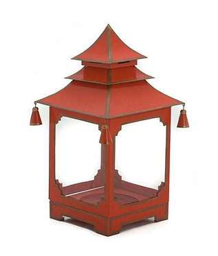 Chinese Red and Gold Candle Pagoda