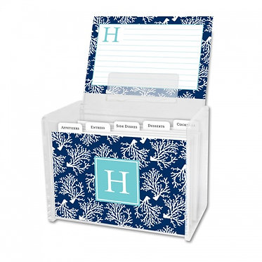 Coral Repeat Navy Recipe Box With Cards