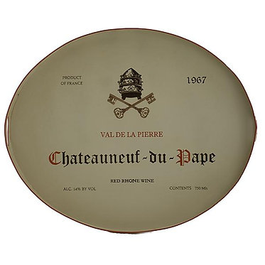 Chateauneuf Du Pape Tole Metal Hand Painted Tray