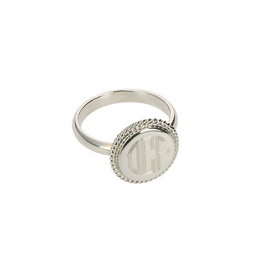Sterling Silver Braided Round Monogram Ring